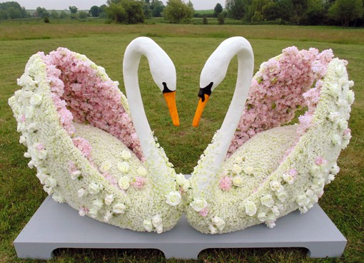 Wedding Topiary Swans