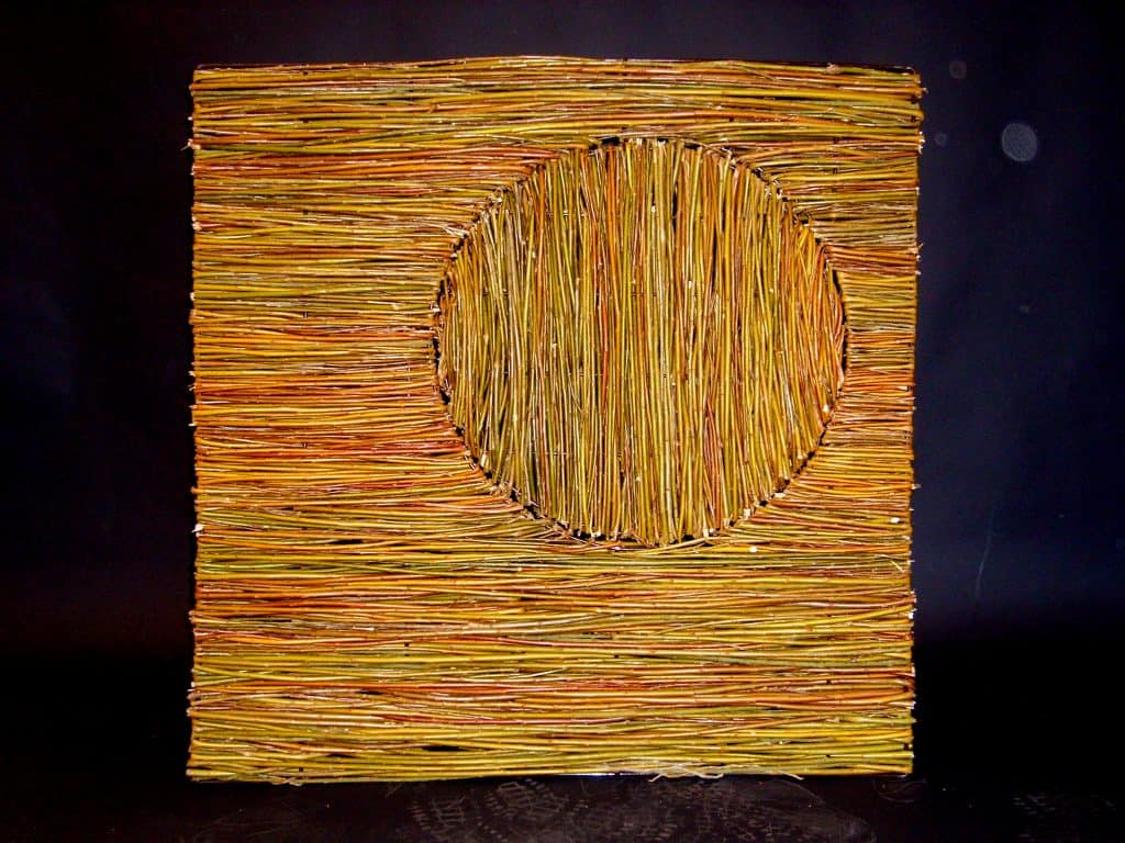 Willow Wicker Abstract Design Panel Made on steel frame woven with willow