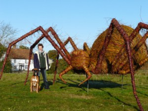 Willow Wicker Woven Giant Spider Jackie and Diesel Dog