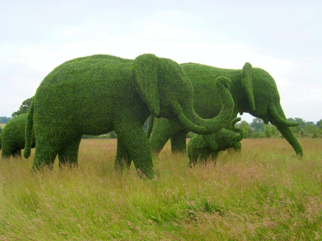 Elephant Herd Artificial Topiary