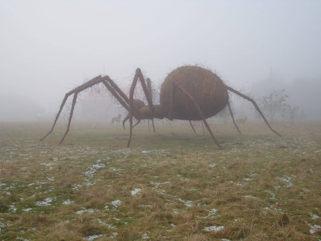 Willow wicker woven Giant Spider in the mist