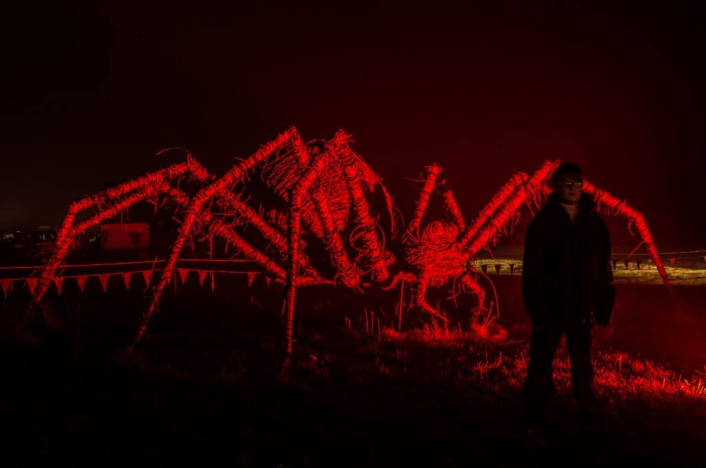 Giant Spider stage prop with Red underlight