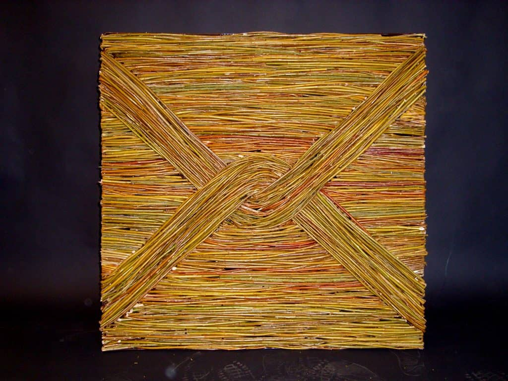 Willow Wicker Knotwork Design Panel Made on steel frame woven with willow