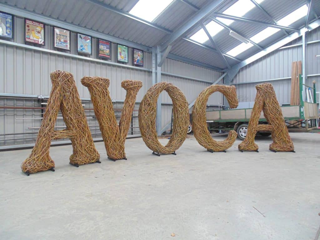 Woven Willow wicker Letters with a random weave on steel frames