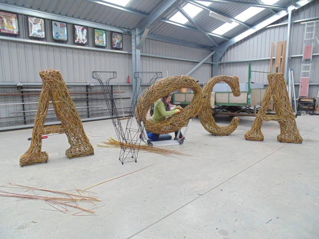 Making Willow wicker weaving woven Letters for Company logo