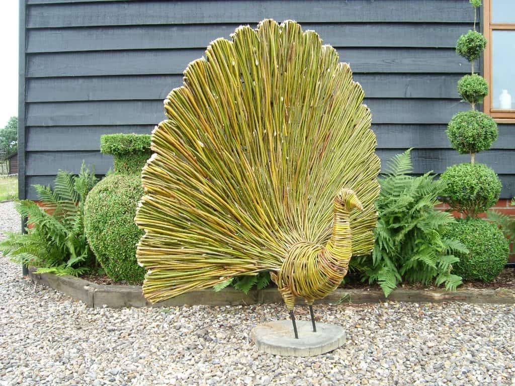 Willow wicker and woven Peacock sculpture for Warner Hotels