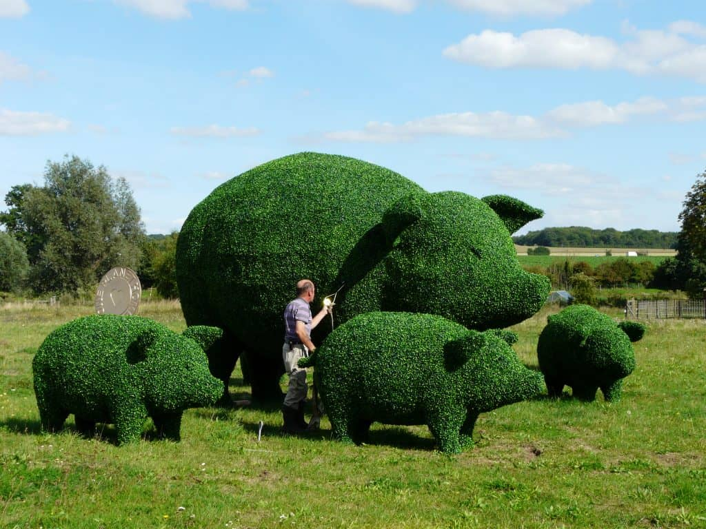 Pig and Piglets Artificial Topiary