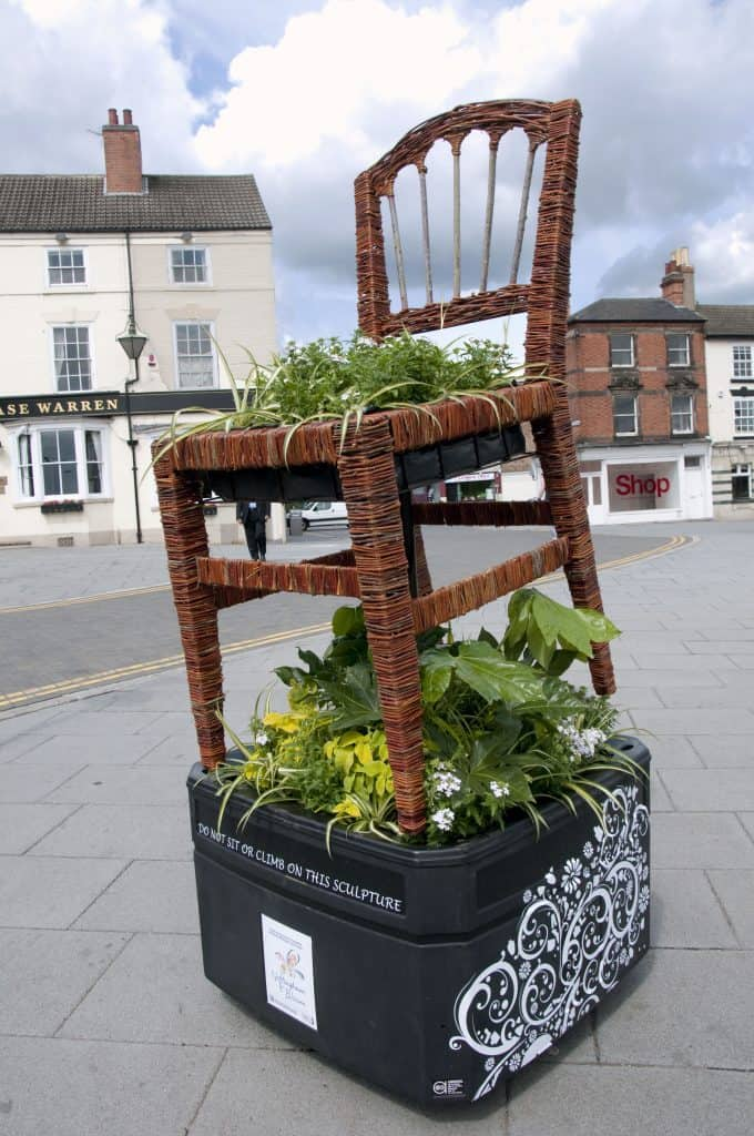 Willow Wicker Chair and floral Sculpture with Planter in Nottingham