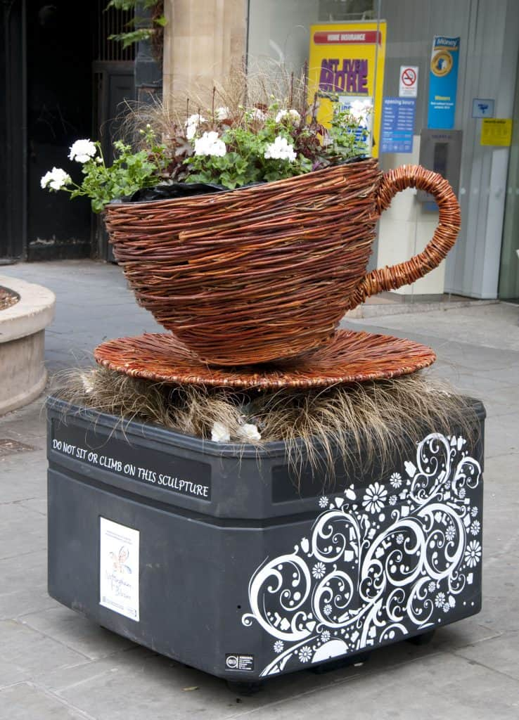 Willow Wicker Cup and Saucer with floral Sculpture and Planter in Nottingham
