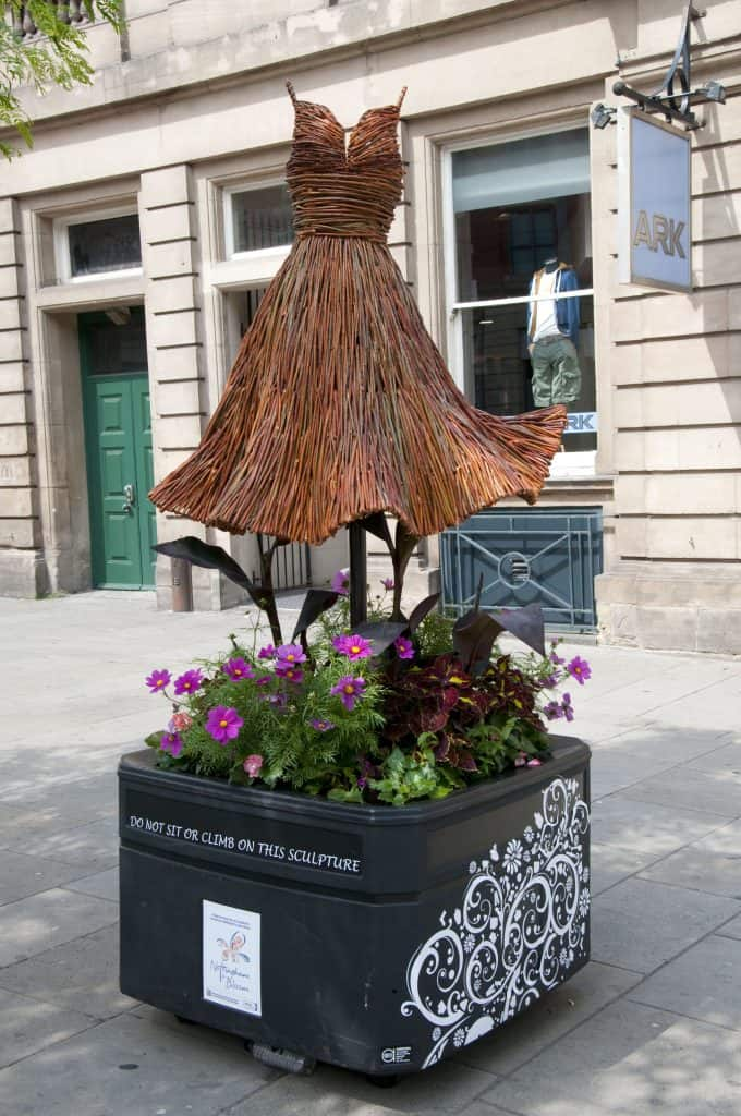 Willow Wicker Dress with floral Sculpture and Planter in Nottingham