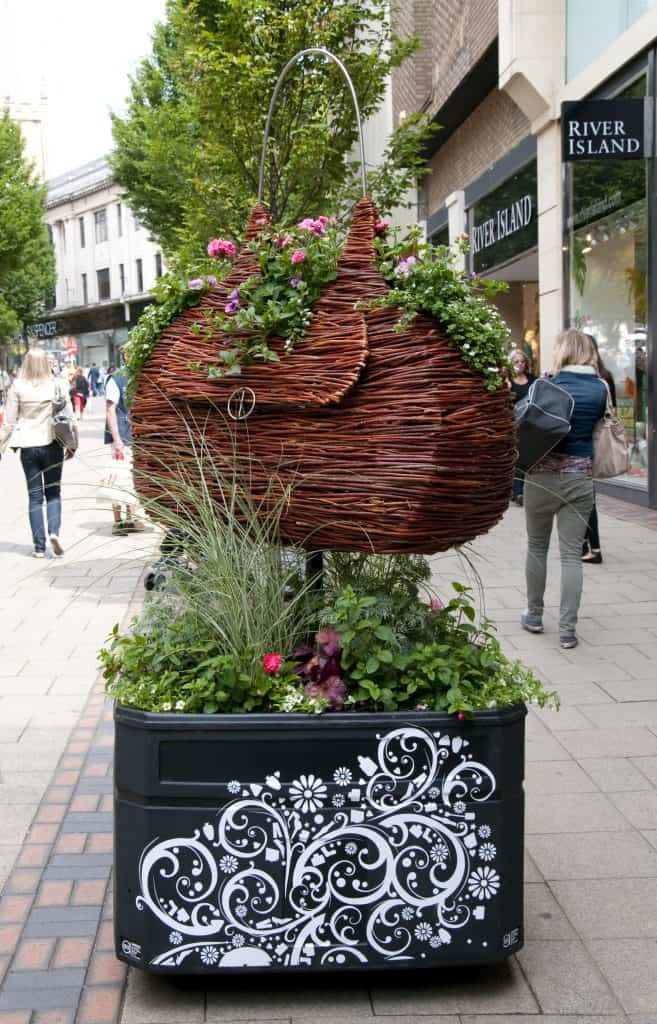 Willow Wicker Handbag with floral Sculpture and Planter in Nottingham