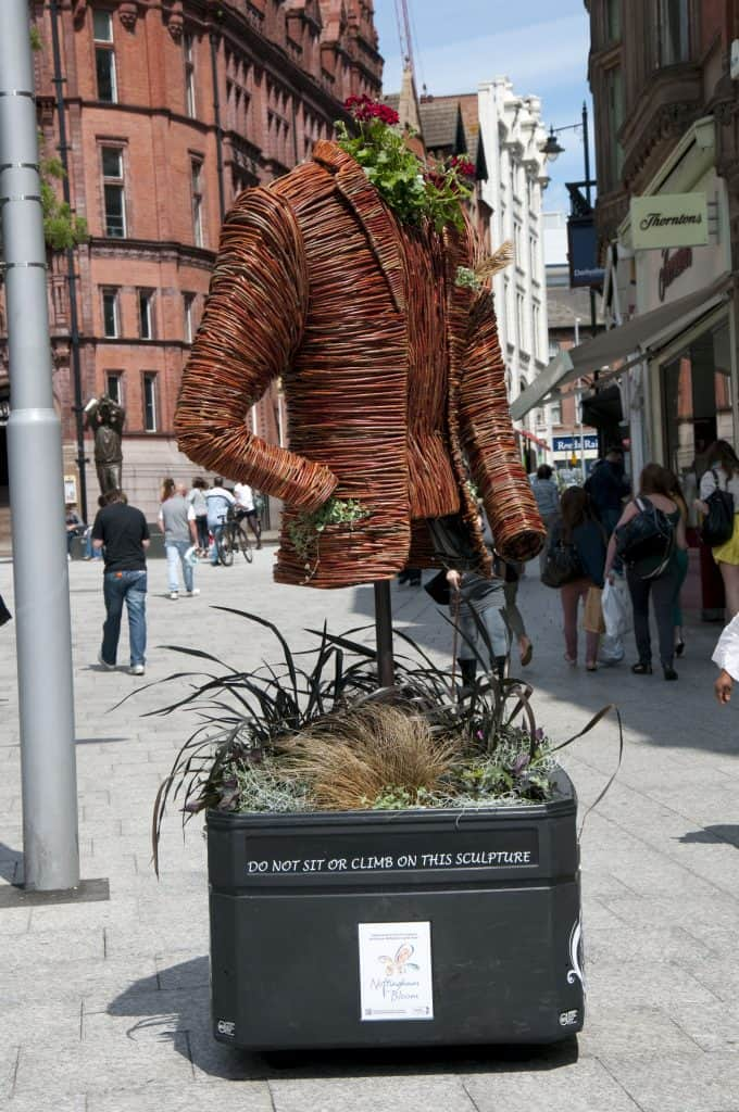Willow Wicker Jacket with floral Sculpture and Planter in Nottingham