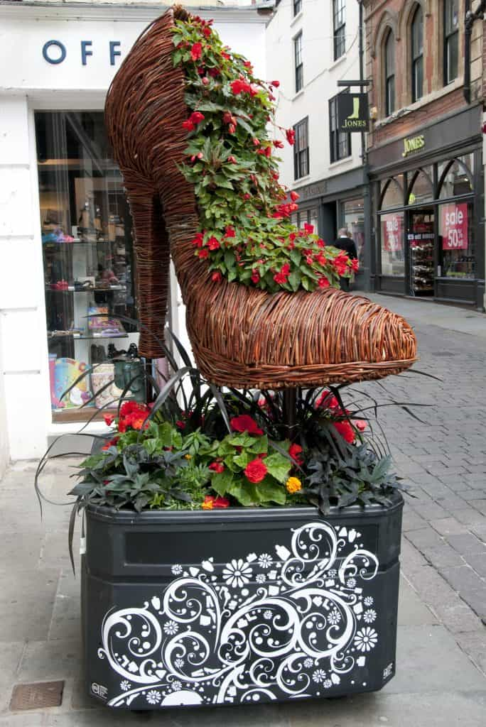 Willow Wicker Stiletto Shoe with floral Sculpture and Planter in Nottingham