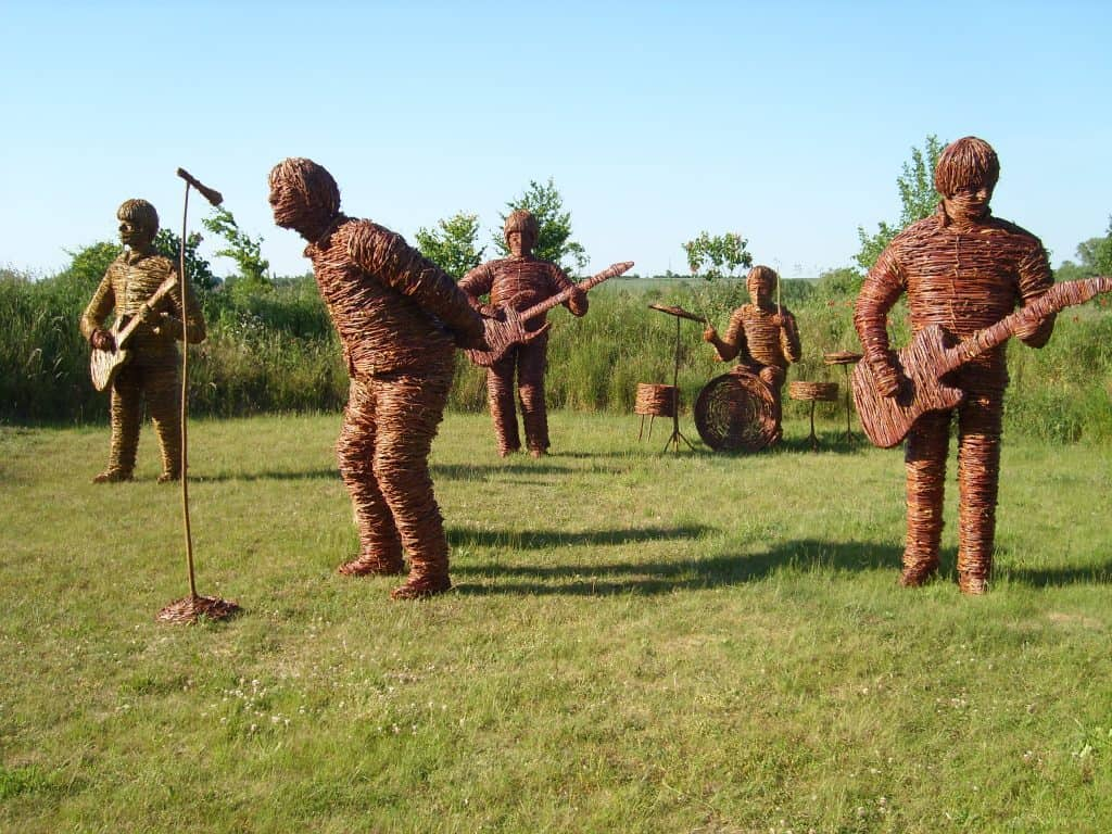 Willow Wicker and woven Rock band sculptures
