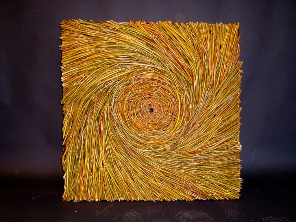 Willow Wicker Vortex Design Panel Made on steel frame woven with willow