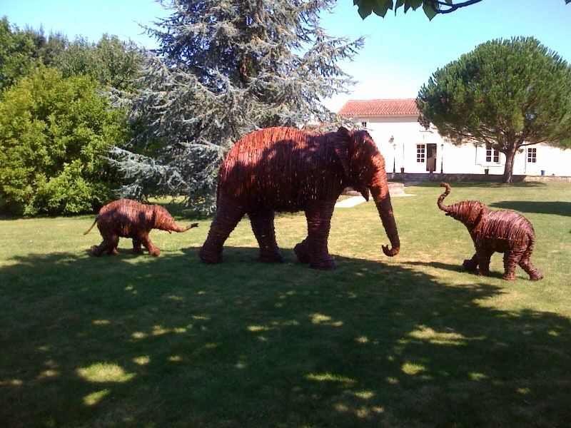 Willow wicker wovenElephants in France By Topiary Art Designs